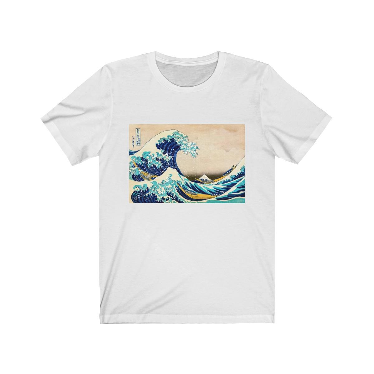 Unisex Jersey Kurzarm Surfer T-Shirt, Die große Welle von Hokusai